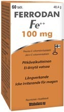 Ferrodan iron product 100 mg 60 tablets